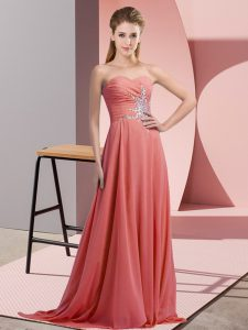 Suitable Floor Length Watermelon Red Evening Dress Sweetheart Sleeveless Lace Up
