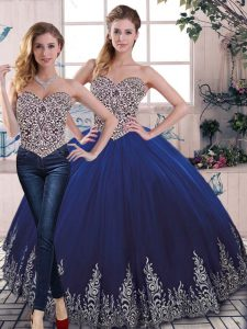 Glittering Tulle Sleeveless Floor Length 15th Birthday Dress and Beading and Embroidery