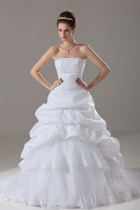 Comfortable Brush Train A-line Wedding Dress White Strapless Taffeta and Tulle Sleeveless Lace Up