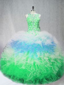 Luxurious Multi-color 15th Birthday Dress Sweet 16 and Quinceanera with Beading and Ruffles Scoop Sleeveless Zipper