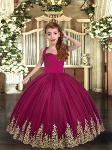 Burgundy Lace Up Straps Embroidery Pageant Dress for Teens Tulle Sleeveless