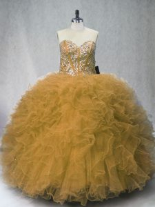 Beauteous Sleeveless Floor Length Beading and Ruffles Lace Up Quince Ball Gowns with Olive Green