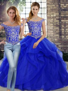 Lace Up Quinceanera Dresses Royal Blue for Military Ball and Sweet 16 and Quinceanera with Beading and Ruffles Brush Train