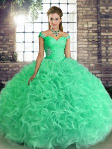 Delicate Turquoise Ball Gowns Off The Shoulder Sleeveless Fabric With Rolling Flowers Floor Length Lace Up Beading Quinceanera Dress