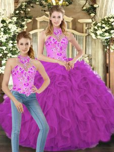 Artistic Fuchsia Lace Up Sweet 16 Dress Embroidery and Ruffles Sleeveless Floor Length