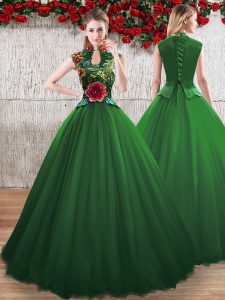 Chic Floor Length Lace Up 15th Birthday Dress Green for Sweet 16 and Quinceanera with Hand Made Flower