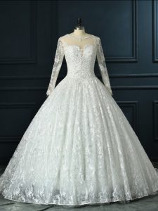New Style Long Sleeves Brush Train Zipper Beading and Lace Wedding Dresses