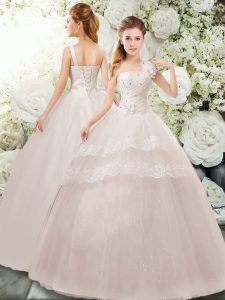 Tulle Straps Sleeveless Lace Up Beading and Lace and Hand Made Flower Wedding Dresses in White