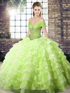 Artistic Organza Sleeveless Sweet 16 Dress Brush Train and Beading and Ruffled Layers