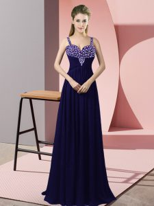 Gorgeous Purple Sleeveless Chiffon Zipper Pageant Dress for Teens for Prom and Party