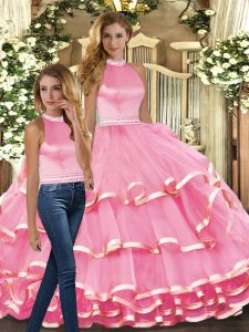 Pink Sleeveless Ruffled Layers Floor Length Quinceanera Gowns