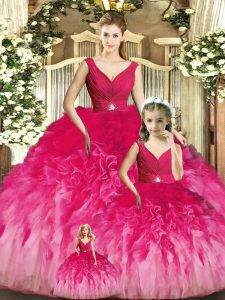 Pretty V-neck Sleeveless Quince Ball Gowns Floor Length Beading and Ruffles Multi-color Tulle