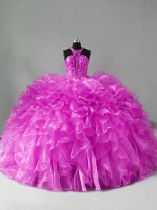 Organza Sleeveless Quinceanera Gown Brush Train and Beading and Ruffles