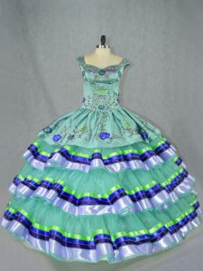 Nice Apple Green Quince Ball Gowns Sweet 16 and Quinceanera with Embroidery and Ruffled Layers Straps Sleeveless Lace Up