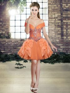 Low Price Orange Ball Gowns Off The Shoulder Sleeveless Tulle Mini Length Lace Up Beading and Ruffles Runway Inspired Dress