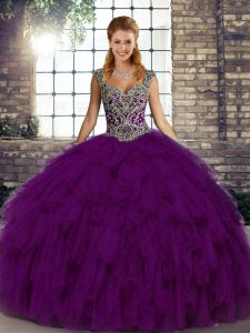Superior Straps Sleeveless Quinceanera Gown Floor Length Beading and Ruffles Purple Organza