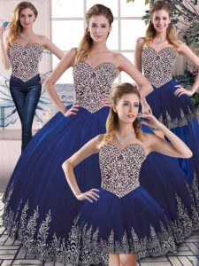 Dramatic Floor Length Lace Up Quinceanera Dress Royal Blue for Sweet 16 and Quinceanera with Embroidery
