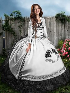 Luxury White And Black Sleeveless Floor Length Embroidery and Ruffles Lace Up 15th Birthday Dress