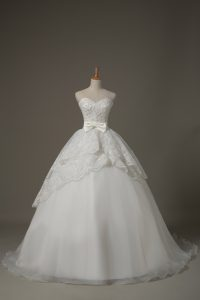 High Quality White Sweetheart Neckline Beading and Lace and Bowknot Wedding Dresses Sleeveless Lace Up