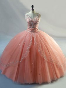 Peach Sleeveless Beading Floor Length Quinceanera Dresses