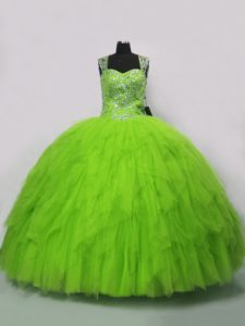Latest Straps Sleeveless Lace Up Quinceanera Gown Tulle