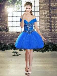 Blue Tulle Lace Up Off The Shoulder Sleeveless Mini Length Prom Party Dress Beading