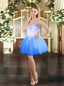 Blue Sleeveless Tulle Lace Up Celebrity Dress for Prom and Party