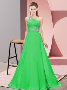 Sophisticated Green Sleeveless Beading Lace Up Prom Evening Gown