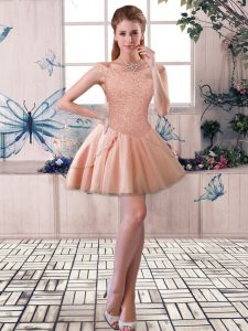 Peach Sleeveless Mini Length Beading Lace Up Prom Dress