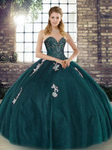 Floor Length Lace Up Sweet 16 Quinceanera Dress Peacock Green for Military Ball and Sweet 16 and Quinceanera with Beading and Appliques