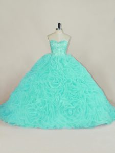 Sleeveless Fabric With Rolling Flowers Court Train Lace Up 15th Birthday Dress in Aqua Blue with Beading and Ruffles