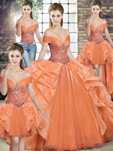 Fitting Floor Length Orange 15th Birthday Dress Off The Shoulder Sleeveless Lace Up