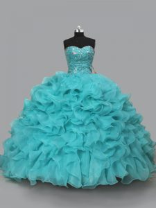 Lace Up Quinceanera Dress Aqua Blue for Sweet 16 and Quinceanera with Beading and Ruffles