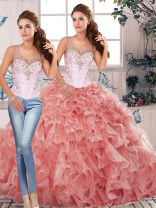 High Quality Watermelon Red Two Pieces Scoop Sleeveless Organza Floor Length Clasp Handle Beading and Ruffles Vestidos de Quinceanera
