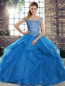 Blue Ball Gowns Off The Shoulder Sleeveless Tulle Brush Train Lace Up Beading and Ruffles Quinceanera Dress
