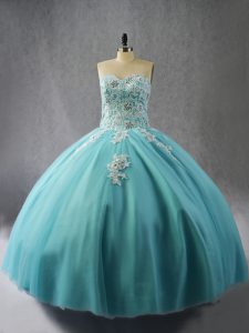 Blue Lace Up Quinceanera Gown Appliques Sleeveless Floor Length