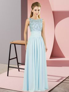 Light Blue Backless Scoop Beading Formal Dresses Chiffon Sleeveless