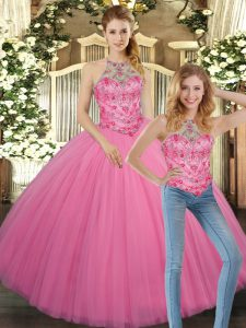 Rose Pink Ball Gowns Halter Top Sleeveless Tulle Floor Length Lace Up Embroidery Sweet 16 Quinceanera Dress
