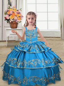 Ball Gowns Kids Formal Wear Blue Straps Satin Sleeveless Floor Length Lace Up