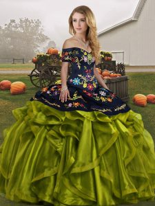 Best Floor Length Lace Up Quinceanera Dresses Olive Green for Military Ball and Sweet 16 and Quinceanera with Embroidery and Ruffles