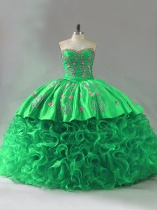 Nice Sweetheart Sleeveless Lace Up Quinceanera Gowns Green Fabric With Rolling Flowers