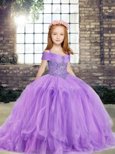 Sweet Lavender Straps Neckline Beading Evening Gowns Sleeveless Lace Up