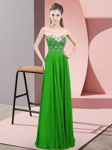 Romantic Green Sweetheart Zipper Beading Red Carpet Prom Dress Sleeveless