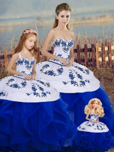 Glorious Floor Length Ball Gowns Sleeveless Royal Blue Quinceanera Dress Lace Up