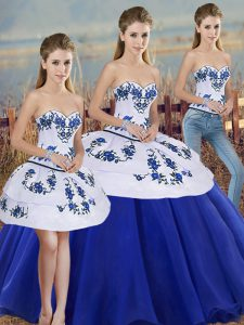 Royal Blue Lace Up Sweetheart Embroidery and Bowknot 15 Quinceanera Dress Tulle Sleeveless