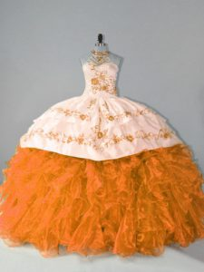 Exquisite Sleeveless Floor Length Embroidery and Ruffles Lace Up Quinceanera Dresses with Orange Court Train