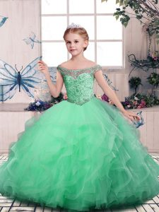 Apple Green Ball Gowns Off The Shoulder Sleeveless Tulle Floor Length Lace Up Beading and Ruffles Pageant Dress
