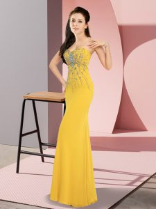 Exceptional Gold Column/Sheath Beading Prom Evening Gown Zipper Chiffon Sleeveless Floor Length