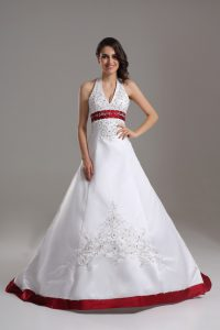 Superior Halter Top Sleeveless Satin Wedding Gowns Beading and Embroidery Brush Train Lace Up