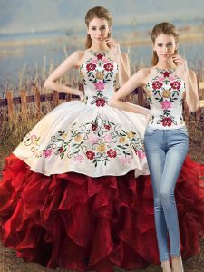 Organza Halter Top Sleeveless Lace Up Embroidery and Ruffles Sweet 16 Dress in White And Red